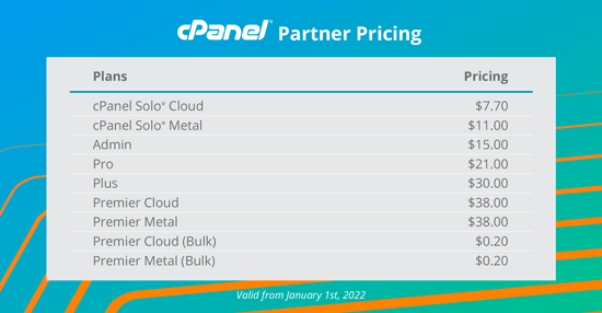 cPanel new partner pricing